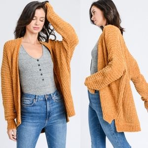 STACEY MUST HAVE Chenille Cardigan - MUSTARD